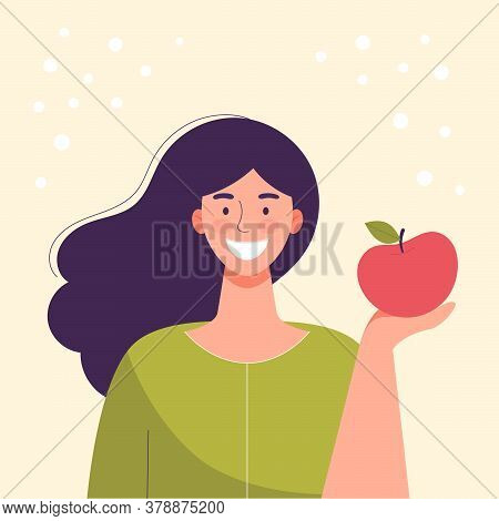Smiling Young Woman Is Eating An Apple. Diet Food, Healthy Lifestyle, Vegetarian Food, Raw Food Diet
