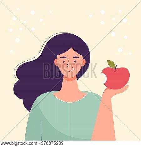 Woman Is Eating An Apple. Diet Food, Healthy Lifestyle, Vegetarian Food, Raw Food Diet. Student Snac