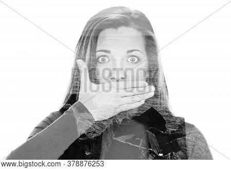 Young Woman Shows Sign And Symbol By Hands On White Background, Double Multiple Exposure Effect,comb