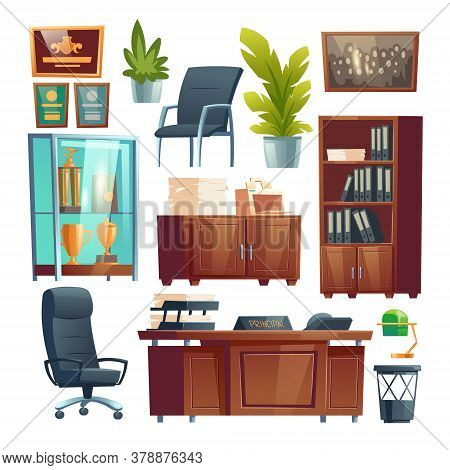 Principal School Office Interior Furniture And Stuff Set. Director Table, Desk With Printer, Chairs