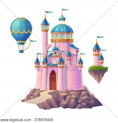 Pink Magic Castle, Princess Or Fairy Palace, Air Balloon And Flying Turrets With Flags. Fantasy Roya