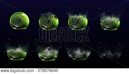 Broken Bubble Shields Explosion Animation Stages, Force Spheres Or Defense Dome Fields Blow Up. Elem