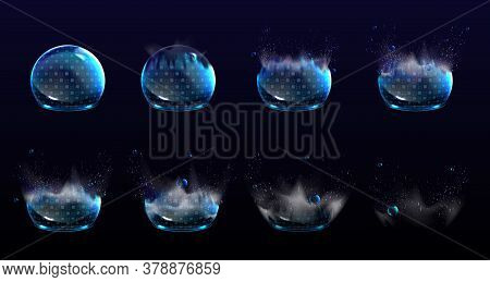Broken Bubble Shields, Explosion Protection Force Fields. Vector Realistic Set Of Stages Of Safety E