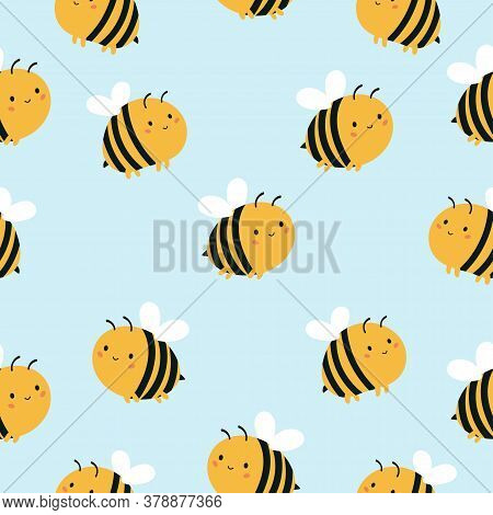 Childish Seamless Pattern With Cute Kawaii Bees On Blue Background. Vector Cartoon Character.