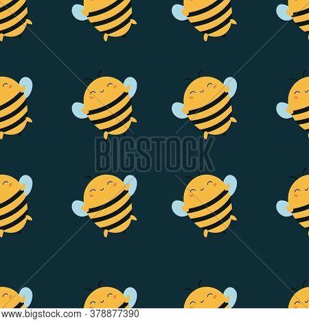 Vector Kawaii Bees Seamless Pattern. Cartoon Bumblebees On Dark Green Background. Summer Illustratio