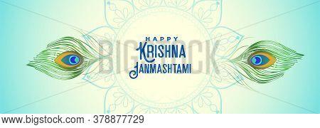 Peacock Feather Banner For Krishna Janmashtami Festival Design