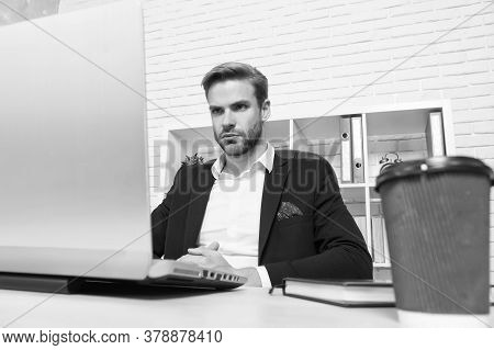Busy Agenda. Busy Businessman Work On Laptop In Office. Busy Working Day. Running Business. Business