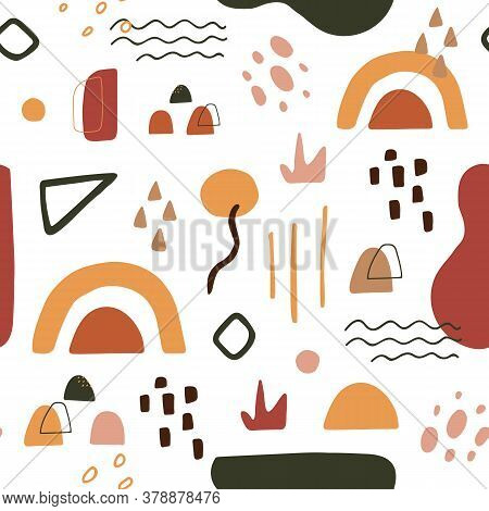 Organic Shapes In Terracotta Colors. Contemporary Art Seamless Pattern. Minimal Cover Design. Abstra