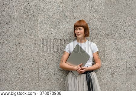 Woman Posing With Laptop