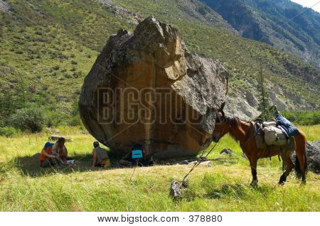 Peoples, Horse And Big Stone.
