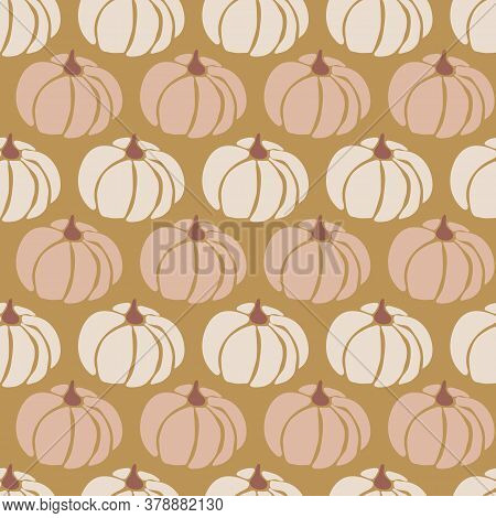 Pumpkins Seamless Vector Pattern. Pumpkins Pink White Gold Repeating Background For Harvest Festival