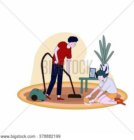 Father And Son Clean Flat Vacuuming With Vacuumer Cartoon Illustration.