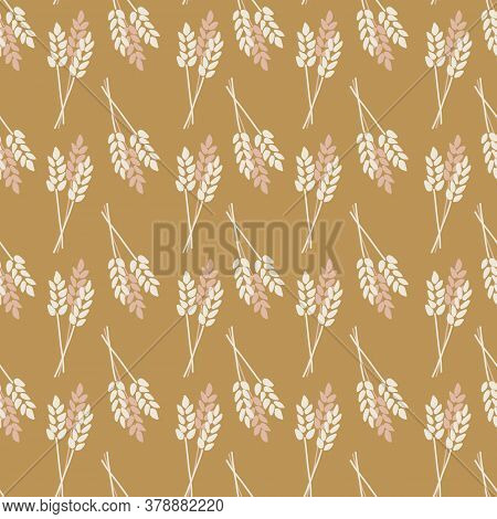 Seamless Vector Background Crop Oat Wheat Barley Rye Plant. Stylized Autumn Nature Pattern. Pink Bro
