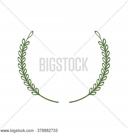 Laurel Wreath Of Two Green Twigs Pointing Up. Laconic Stylish Frame, Minimal Style. A Border Of Bran
