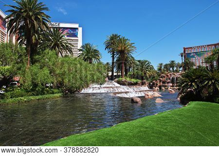 Las Vegas / United States - 05 Jul 2017: The Fountain In Las Vegas, United States