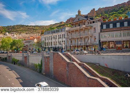 Georgia, Tbilisi - April 30, 2020: Panoramic View Of The Old Town Of Tbilisi, Georgia
