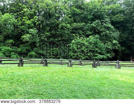 Right Green Grass Against A Backdrop Of Spreading Trees With An Amazing Wooden Fence. Foreground