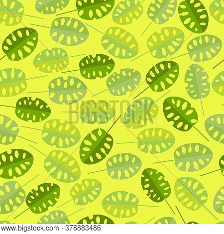 Seamless Pattern With Unusual Leaves Of Monstera. Bright Texture With Tropical Leaves In Yellow Gree