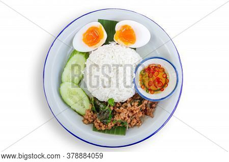 Basil Rice On Dish. Esan Style Food. Food Menu Made From Meat. Thailand Food On Dish Isolated On Whi