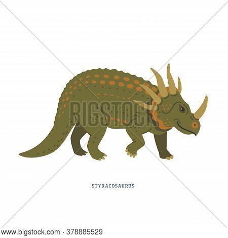 Styracosaurus Dinosaur. Herbivorous Ceratopsian Dinosaur From The Cretaceous Period.