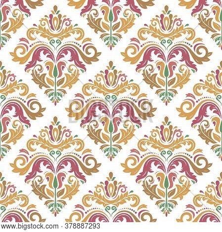 Classic Seamless Vector Pattern. Damask Orient Ornament. Classic Vintage Background. Orient Colored