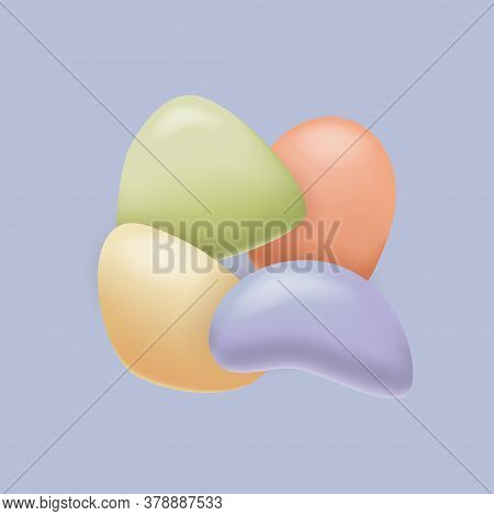 Pebble Background. Set Of Colorful Pebble. Round Pebble Stones