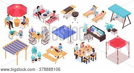 Isometric Garden Furniture Set With Isolated Icons Human Characters And Patio Furniture Images On Bl