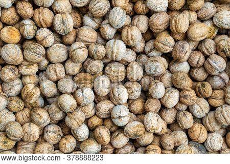 Natural Nuts Walnut Background Texture Abstract Walnuts Heap. Vegetarian Food