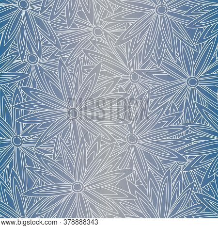 Vector White Flower Outlines On Blue Grey Ombre Background Seamless Repeat Pattern. Background For T
