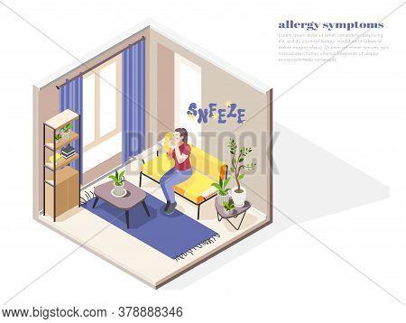Allergy Symptoms Concept With Allergens Factors Symbols Isometric Vector Illustration