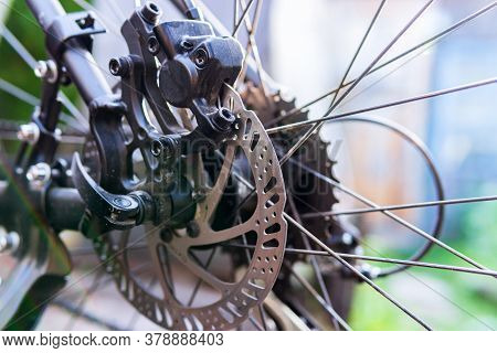 Bicycle Wheel: Disc Brakes, Spokes. Cycling, Bicycle Repair Adjustment Of Brakes