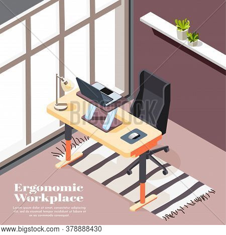 Ergonomic Workplace Isometric Background With Desk For Laptop And Office Chairs With Casters Vector