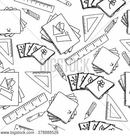 Outline Vector Illustration On School Theme, Copybook, Ruler And Pencil Doodles On Seamless Pattern