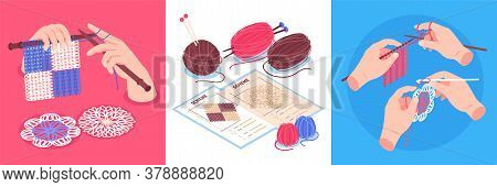 Isometric Knitting Design Concept Set Of Square Compositions With Human Hands Holding Pins And Colou