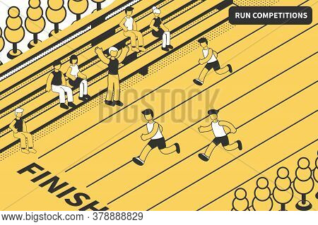 Athletics Run Sport Competitions Isometric Composition With View Of Athletic Track Finish Line With