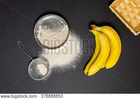 Banana Flour Type Of Flour For Baking . Gluten Free Plant Flour. Gluten Intolerance Concept.