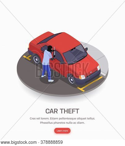 Gangster Wearing Black Mask Committing Car Theft Crime 3d Isometric Vector Illustration