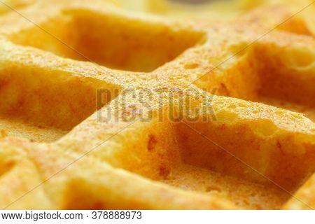 Waffles Belgian, Fluffy Or Egg Waffles. Close-up Traditional European Dessert. Food Background Macro
