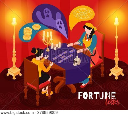 Isometric Psychic Fortune Occult Composition With Indoor Scenery Of Fortuneteller Visit With Table C