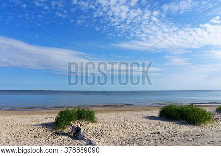 Seashore, Deserted Sea Beach, Baltic Coast In Off-season