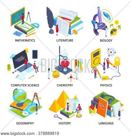 School Subjects Isometric Set With Physics Lab Computer Science Language History Geography Chemistry