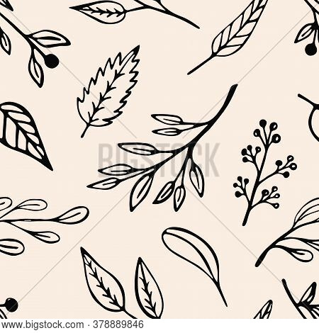 Leaf And Plants Seamless Pattern In Washed Out Pastel Colors. Beige Vegetal Organic Background Desig