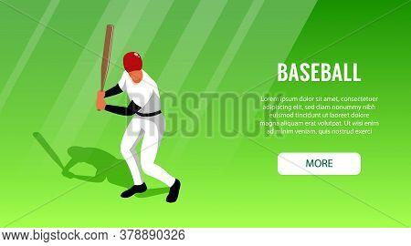 Horizontal Banner With Baseball Hitter On Green Background 3d Vector Illustration