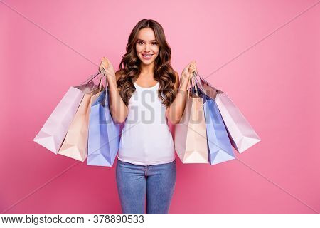 Photo Of Attractive Pretty Lady Long Perfect Curly Hair Amazing Tanned Skin Hold Many Shopping Packs
