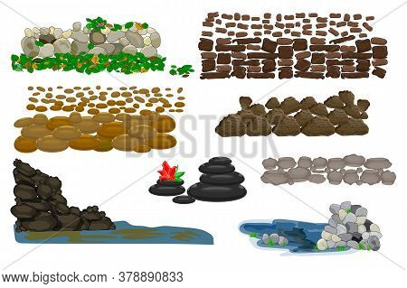 Rock Stone Cartoon Set Isolated On White Background. Collection Of Different Boulders. Various Pile