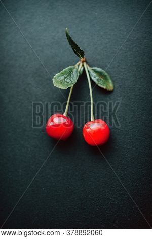 Ripe Cherries Close-up On A Dark Background. Selective Focus. Good Morning Concept Rustic Authentici