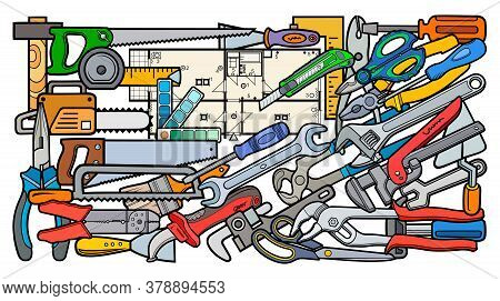 Cartoon Doodles Funny Hand Drawn Repair Tools Illustration. Many Drafting Objects Vector Background