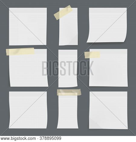 Set Of White Sticky Notes On Wall