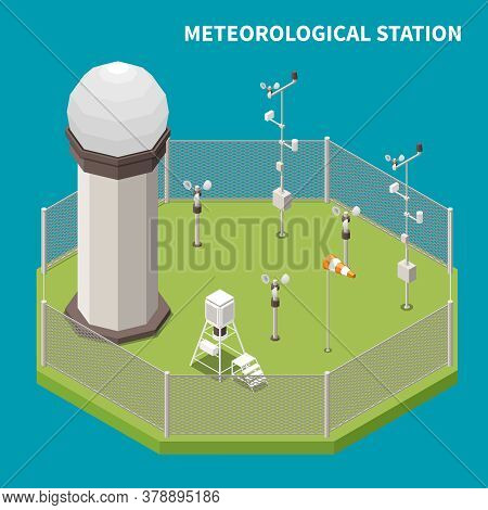 Weather Forecast Isometric Concept With Meteorological Station Symbols Vector Illustration