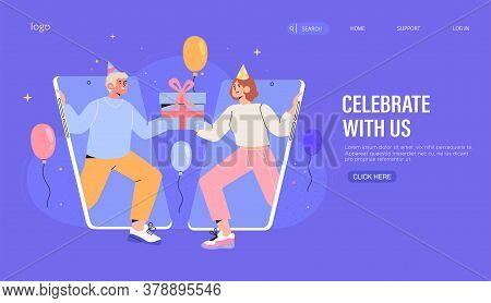 People Share Gift Or Present And Greeting On Company Or Website Birthday Or Anniversary Banner, Webs